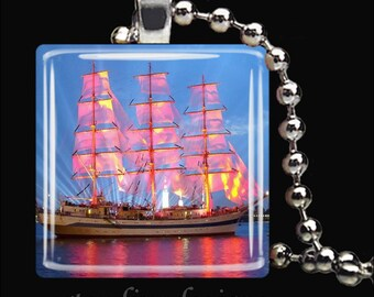 SAILBOAT SUNSET Nautical Ship Schooner Ocean Boat Glass Tile Pendant Necklace Keyring