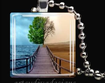 TREE OF LIFE Desert Sand Ocean Water Glass Tile Pendant Necklace Keyring
