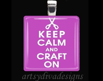 KEEP CALM Crafter Craft Lover Art Sewing Scissors Glass Tile Pendant Necklace Keyring