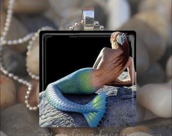 MERMAID FAIRY TALE Ocean Fantasy Glass Tile Pendant Necklace Keyring