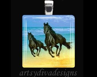 MOTHER DAUGHTER HORSES Beach Horse Ocean Glass Tile Pendant Necklace Keyring