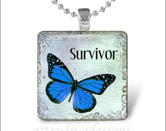 SURVIVOR Inspirational Butterfly Cancer Awareness Glass Tile Pendant Necklace Keyring