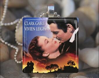 GONE WITH the WIND Rhett Butler Scarlett O'Hara Romance Glass Tile Pendant Necklace Keyring design 1