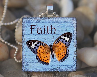 FAITH Hope Butterfly Inspirational Glass Tile Pendant Necklace Keyring