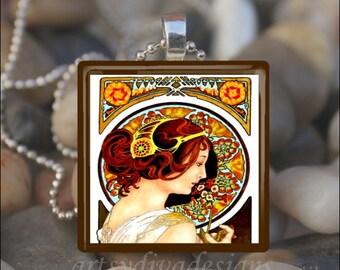 PRIMULA Alfons Alphonse Mucha Art Nouveau Deco Glass Tile Pendant Necklace Keyring