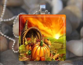 AUTUMN CORNUCOPIA Thanksgiving Harvest Pumpkin Fall Leaves Glass Tile Pendant Necklace Keyring