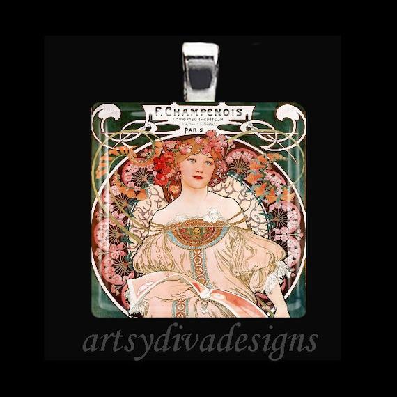 REVERIE Alfons Alphonse Mucha Art Nouveau Glass Tile Pendant Necklace Keyring