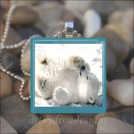 POLAR BEAR Baby Bear Arctic Winter Animal Glass Tile Pendant Necklace Keyring