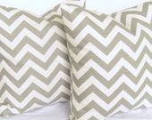 Grey Pillow Covers pair TWO 18x18 inch chevron zigzag Decorative throw cotton slub modern geometric same fabric front and back FREE SHIP