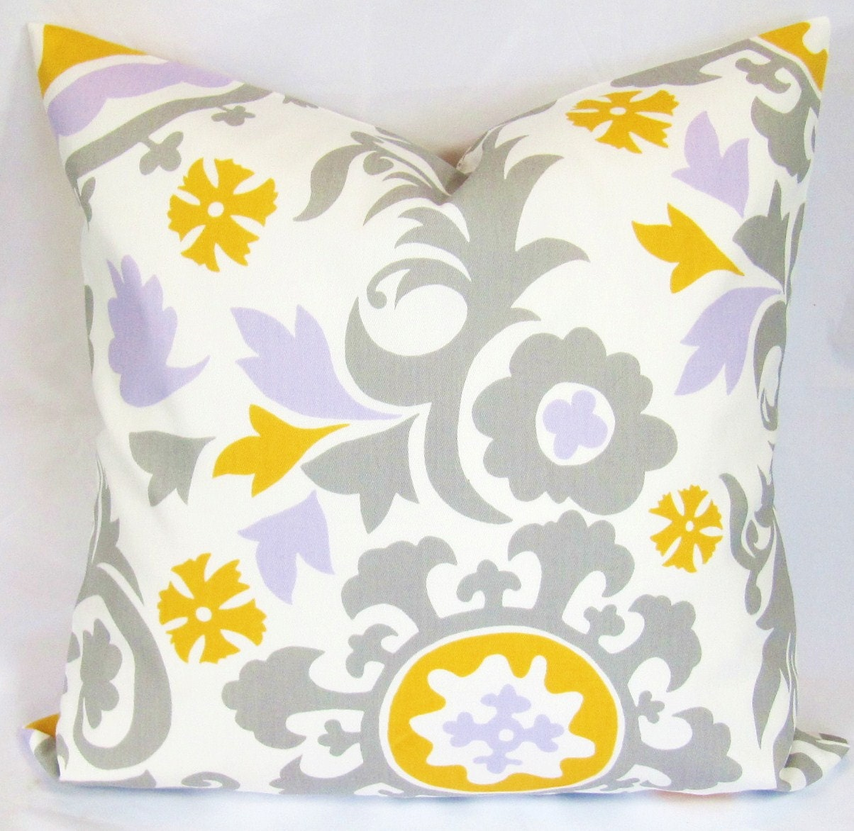 Yellow And Grey Fabric Decorative pillow grey yellow