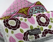 Baby Burp Cloths, Set of 3, Aviary 2 by Joel Dewberry and White Cotton Chenille