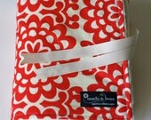 Baby Blanket with Stroller Ties, Wall Flower in Cherry by Amy Butler and Vanilla Dot Minky