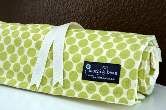 Baby Blanket with Stroller Ties, Full Moon Polka Dot in Lime by Amy Butler and Vanilla Dot Minky