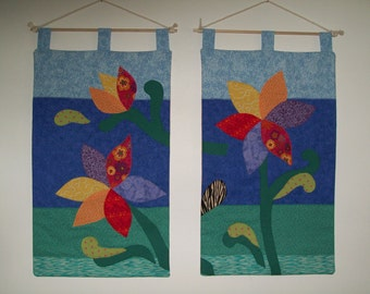 Three  flowers with water and sky, Fabric art wall hangings, by Marina on sale now