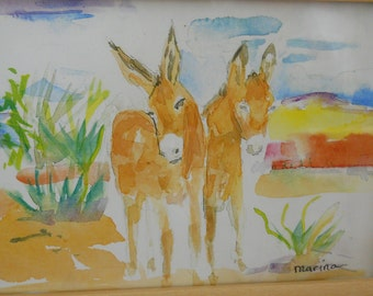 Burros, original watercolor print, framed art by Marina