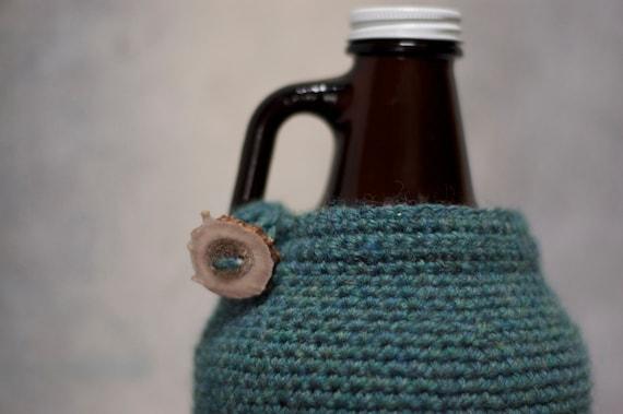 64 oz Beer Growler Cozy in Peacock Green Wool