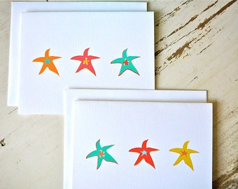 Starfish Blank Notecards - 1 Design - Set of 8 - Personalization Available