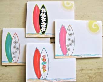 Funboard Flowers Blank Notecards - 4 Designs - Set of 8 - Personalization Available