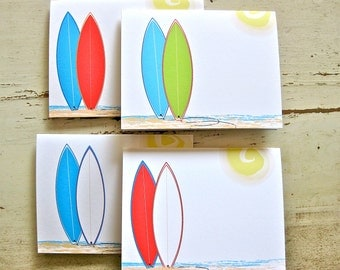 Funboard Solid Blank Notecards - 4 Designs - Set of 8 - Personalization Available