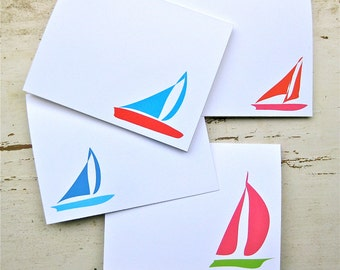 Sailboats Blank Notecards - 4 Designs - Set of 8 - Personalization Available