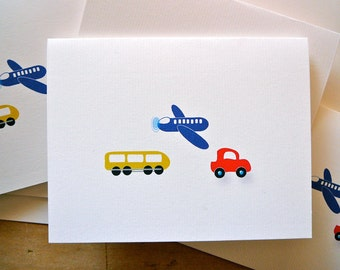 Personalized with Name - Planes, Trains and Minis Blank Notecards - 1 Design - Set of 8