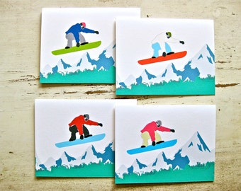 Snowboard Blank Notecards - 1 Design with 4 color variations - Set of 8 - Personalization Available