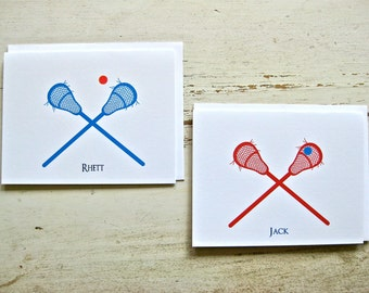 Lacrosse Blank Notecards - 1 Design, 1 Stick Color - Set of 8 - Personalization Available