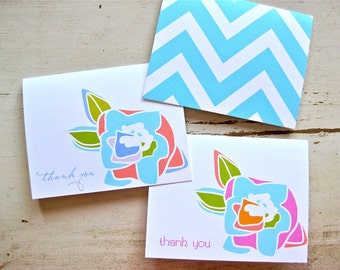 Japanese Bud with Chevron - 2 Designs - Flower Bud and Chevron - Set of 8  - Personalization Available
