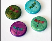 Set of 4 - One inch button magnets - Rainbow of Dragonflies  (Lot 1)