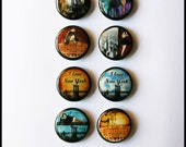 Set of  8 - One inch button magnets - Vintage New York (Lot 1)