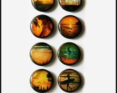 Set of 8 - One inch button magnets - Vintage Summer (Lot 1)