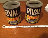 1950's Vintage Rival Dog Food- Coin Collection Bank- set of 2