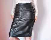 Vintage black leather skirt women size small