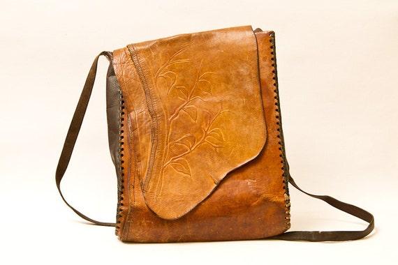 Vintage leather bag handbag ethnic adjustable strap