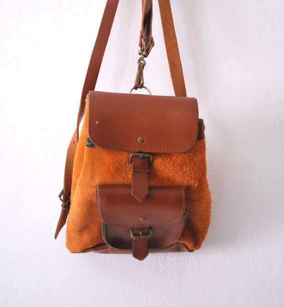 Vintage leather backpack orange brown small // back to school // halloween