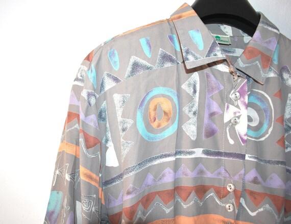 Vintage ethnic tribal pastel shirt blouse grey mint men women size medium