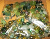 Lot of mixed Green glass beads all shapes and sizes for your beading projects Free US Shipping
