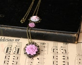 "Necklace 26"" Antique Bronze Necklace with Lavender Rose/Dahlia/Rose Cameo Cabochons"
