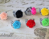 Ring Antique Silver Adjustable Filigree Ring with open Vintage inspired Rose Cabochons choose your color