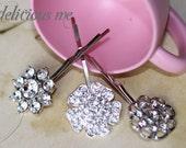 Flower Crystal Clear Rhinestone Silver Hairpins Trio Set for Wedding/Wedding Party/Special Occasion