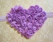 Heart Headband Lavender Chiffon Rosette Heart Headband by Moda Vida Boutique