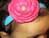 Handmade Headband Hot Pink Flower with Rhinestone Center on a beautiful turquoise heabdand by Moda Vida Boutique