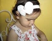 Chiffon Butterfly Headband by Moda Vida - White Chiffon Butterfly with Rhinestone Center