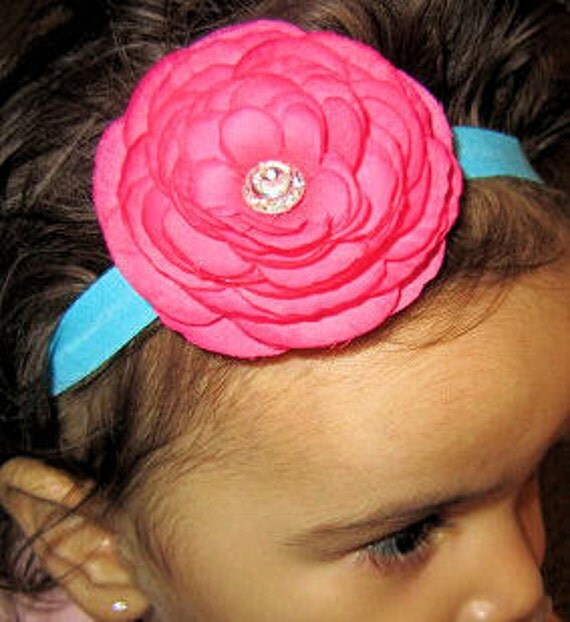 Handmade Headband Hot Pink Flower with Rhinestone Center on a beautiful turquoise heabdand by Moda Vida Boutique