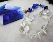 Beaded Suncatcher, vintage prism sun catcher, cobalt blue, Chi-Swirler