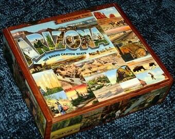 ARIZONA travel postcard decoupage cigar box