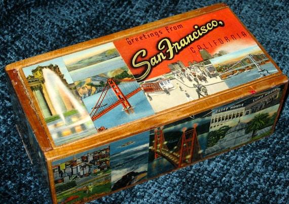SAN FRANCISCO CA travel postcard decoupage box
