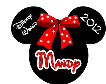 Disney TShirt Minnie Cheer Bow Custom Personalized  Iron on Transfer Decal(iron on transfer, not digital download)