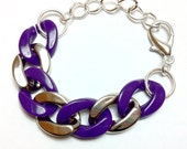 Purple & Silver Color-blocked Chain-linked Bracelet