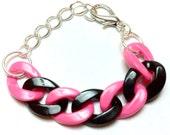 Pink & Black Color-Blocked Chain Link Bracelet